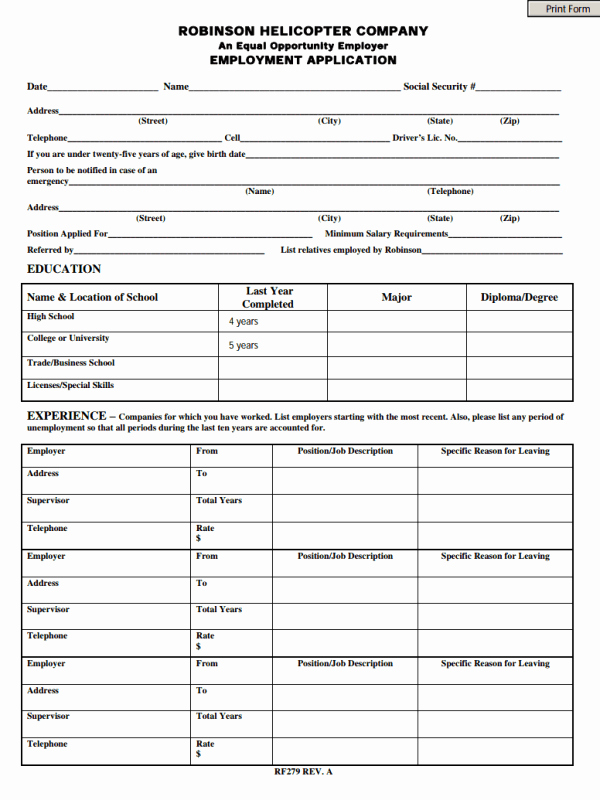 Free Employment Application form Download Unique Employment Application form Free Download