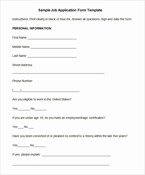 Free Employment Application form Template Fresh Job Application Template 19 Examples In Pdf Word