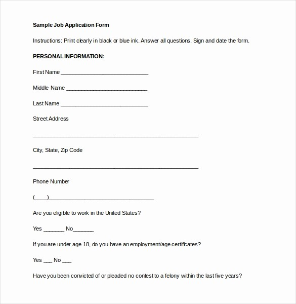 Free Employment Application form Template Inspirational 15 Employment Application Templates – Free Sample