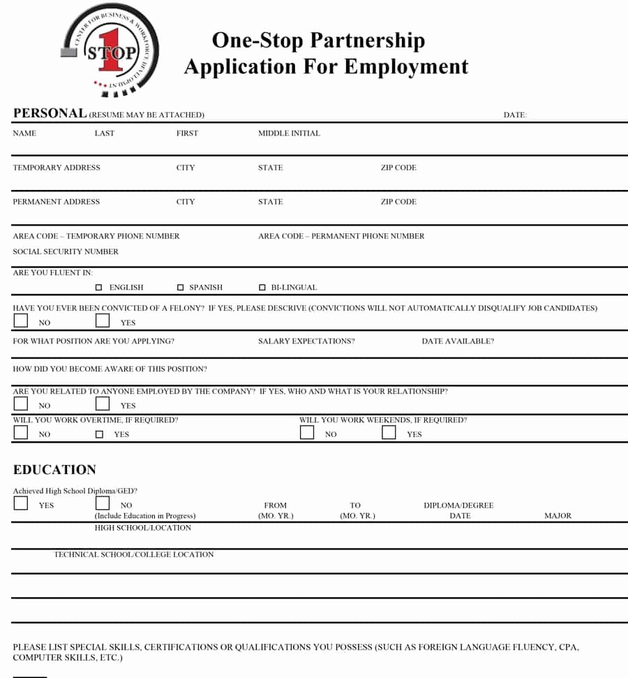 Free Employment Application form Template Lovely 50 Free Employment Job Application form Templates