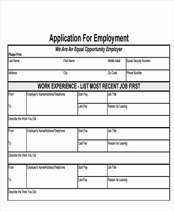 Free Employment Application form Template Unique 49 Job Application form Templates
