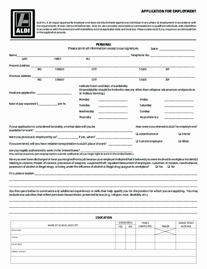 Free Employment Application to Print Best Of Free Printable Aldi Job Application form