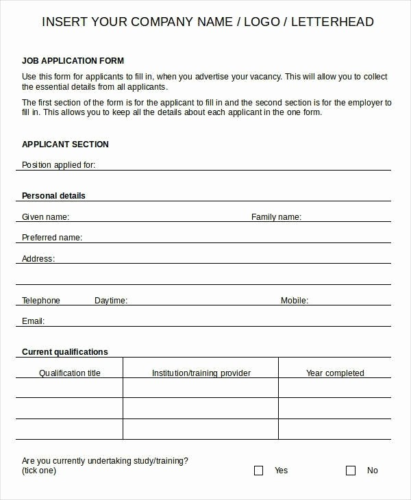 Free Employment Application to Print Best Of Free Printable Generic Job Application form