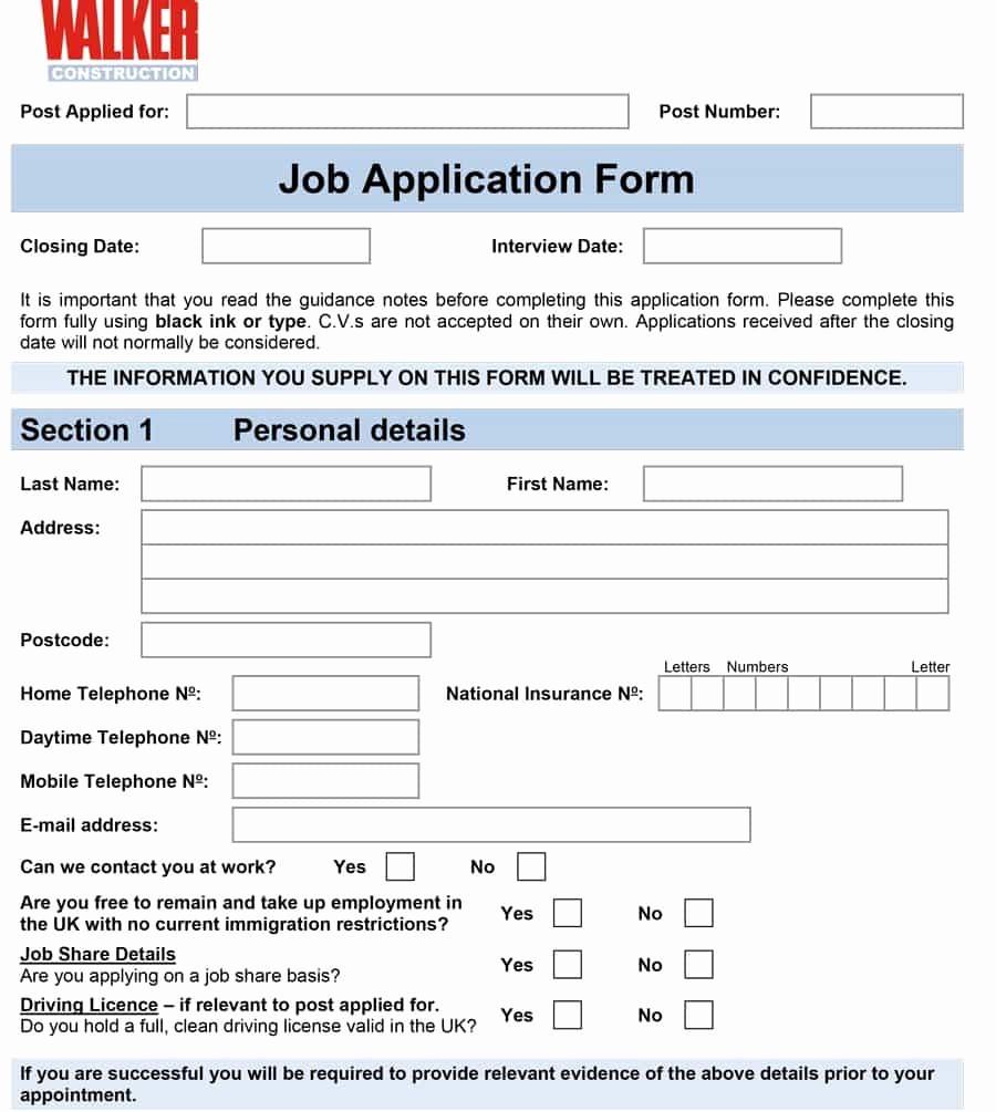 Free Employment Application to Print Elegant 50 Free Employment Job Application form Templates