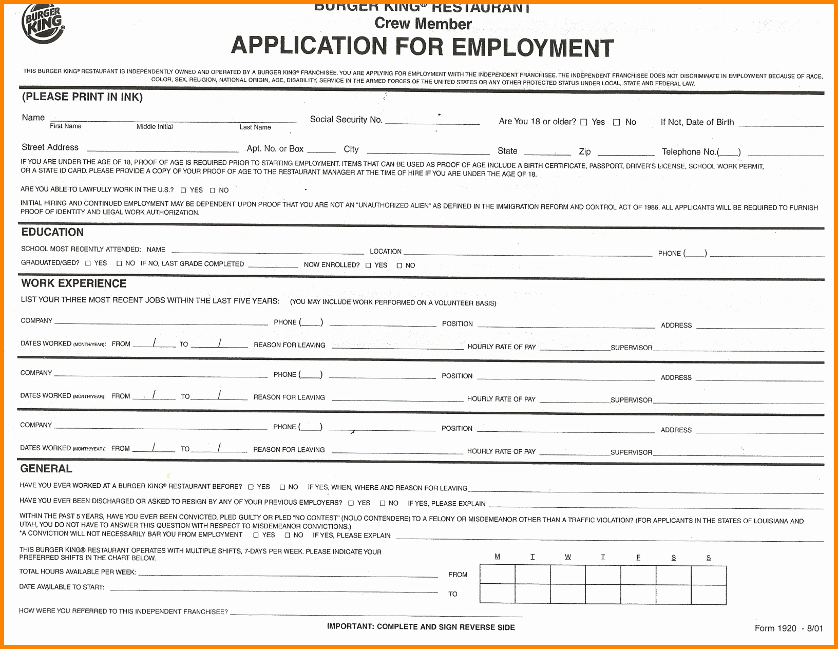 Free Employment Application to Print Lovely 9 Job Application forms to Print Out