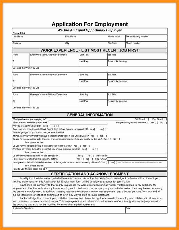 Free Employment Application to Print Luxury 7 Able Employment form