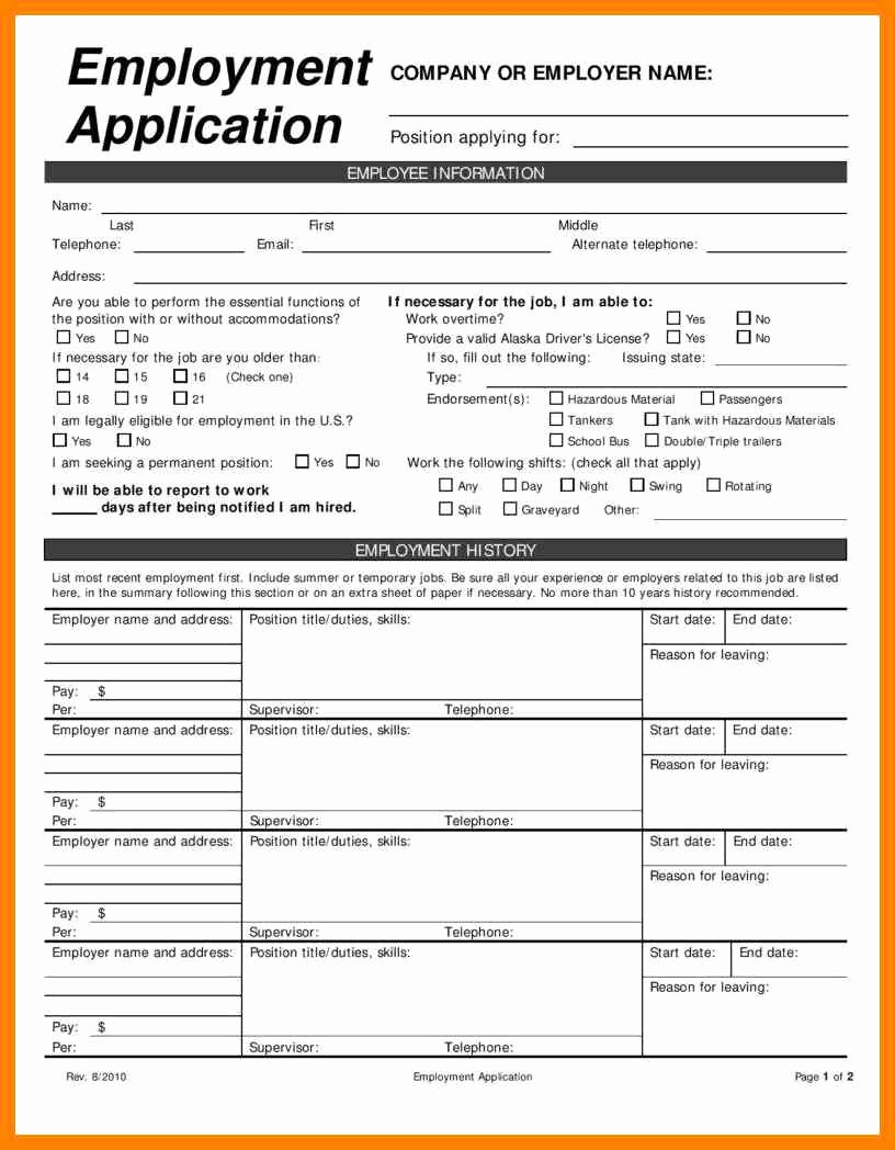 Free Employment Application to Print Unique 7 Free Printable Blank Employment Application
