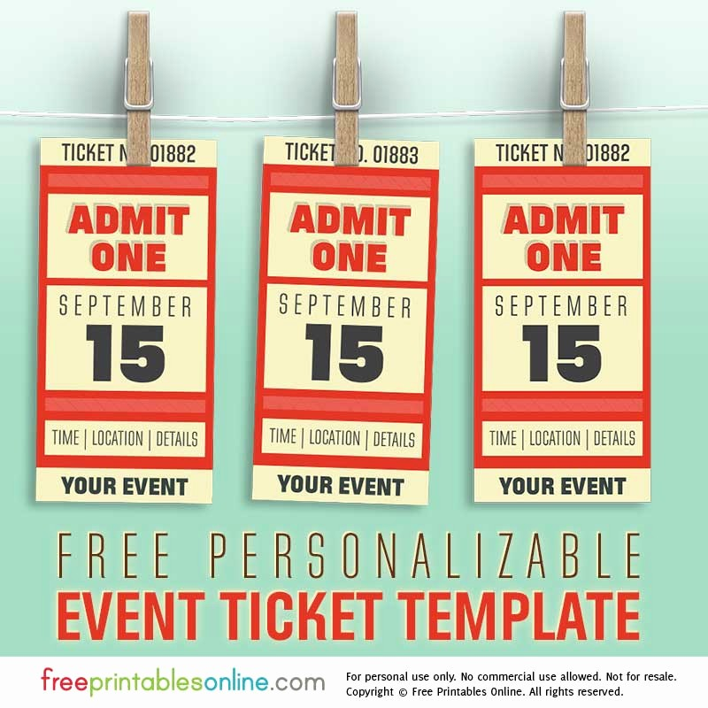 Free event Ticket Template Printable Best Of Free Personalized event Ticket Template