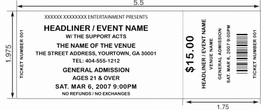 Free event Ticket Template Printable Elegant 8 Best Of Printable Concert Ticket Stubs Free