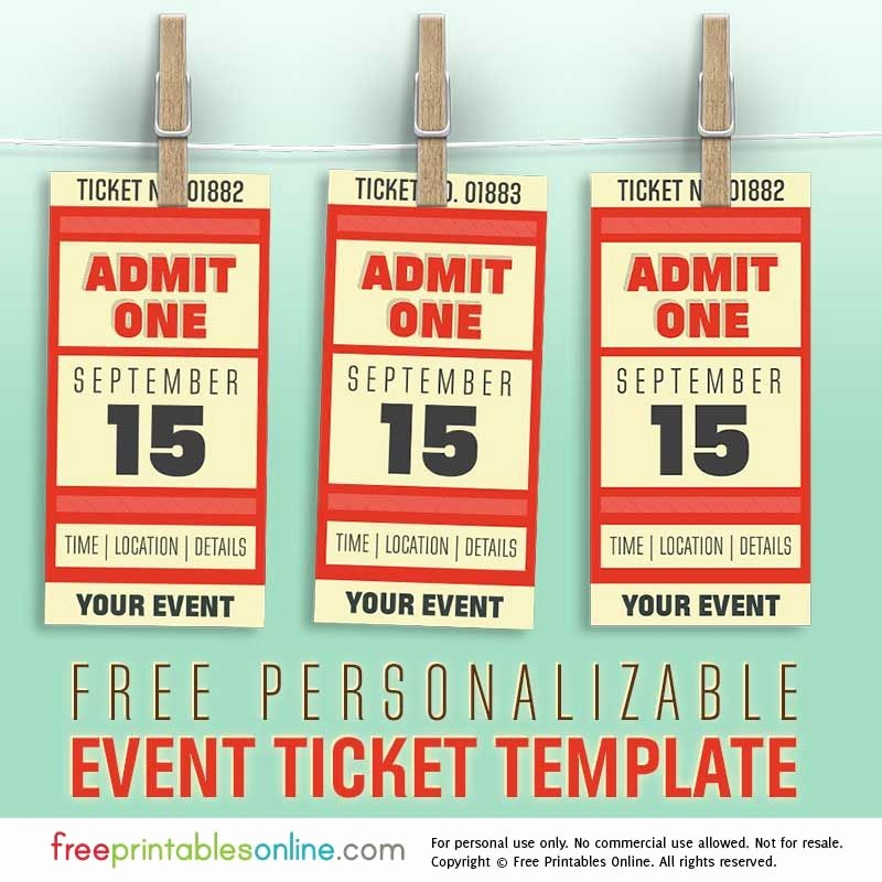 Free event Ticket Template Printable Elegant Free Personalized event Ticket Template Free Printables