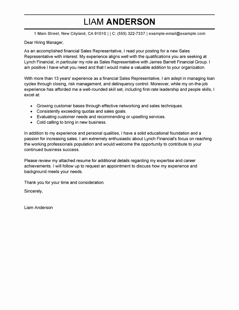 Free Examples Of Cover Letter Elegant Free Cover Letter Examples for Every Job Search