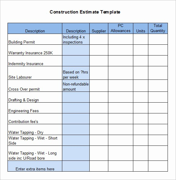 Free Excel Cost Estimate Template Awesome House Construction Cost Estimate Excel Template Home