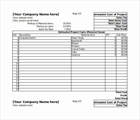 Free Excel Cost Estimate Template Beautiful 26 Blank Estimate Templates Pdf Doc Excel Odt