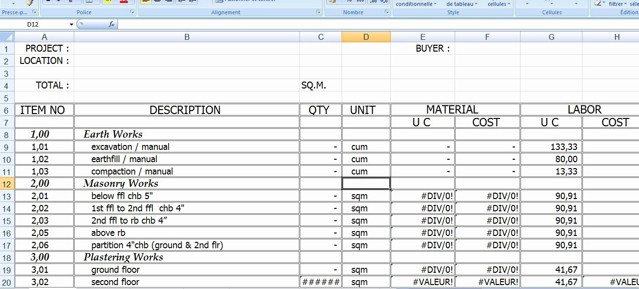 Free Excel Cost Estimate Template Best Of Free Construction Cost Excel Spreadsheet Model