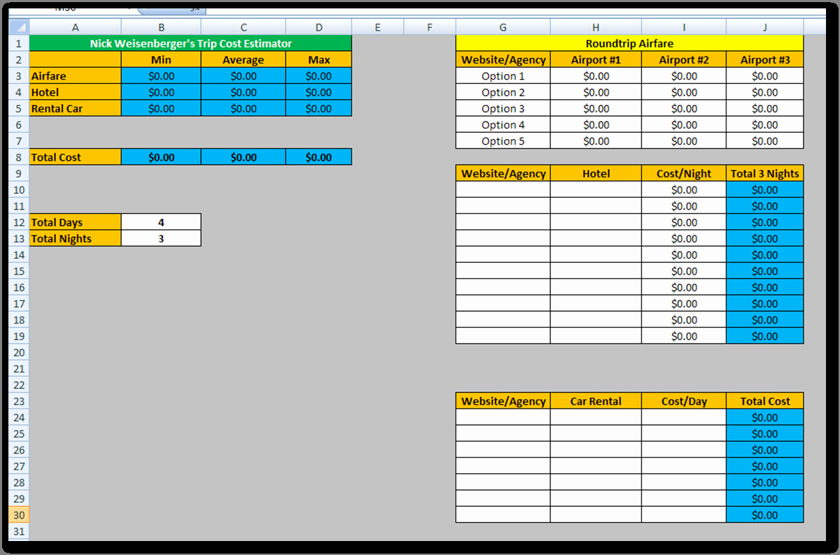 Free Excel Cost Estimate Template Elegant Estimating Spreadsheet Template Spreadsheet Templates for