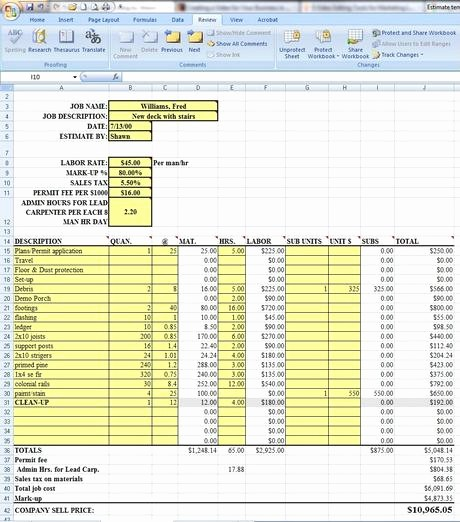 Free Excel Cost Estimate Template New Labor Costs Estimating Sheet Download