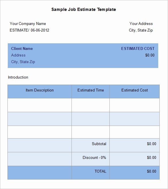 Free Excel Cost Estimate Template Unique 5 Job Estimate Templates – Free Word Excel & Pdf