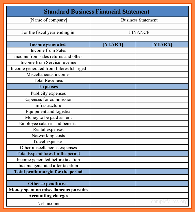 Free Excel Financial Statement Templates Beautiful 8 Business Financial Statement Template Excel