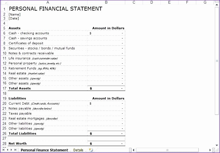Free Excel Financial Statement Templates Luxury 9 Personal Financial Statement Template Excel Free