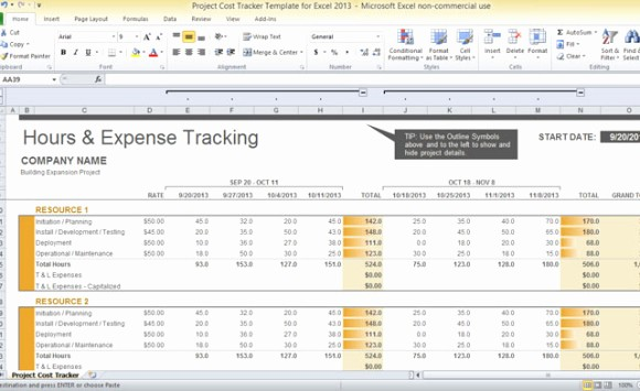 Free Excel Project Tracking Templates Elegant Project Cost Tracker Template for Excel 2013