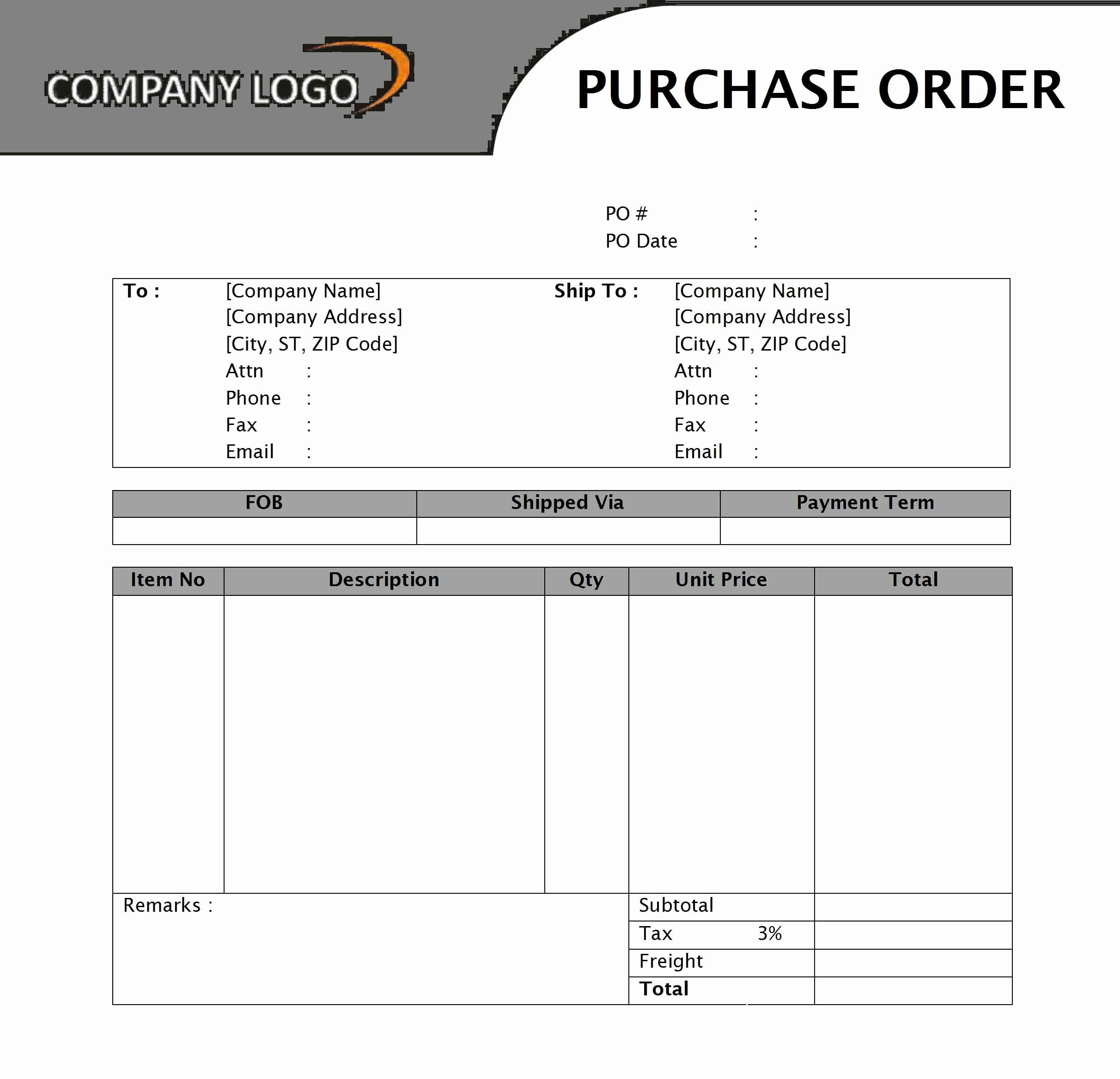 Free Excel Purchase order Template Elegant Free Purchase order Template