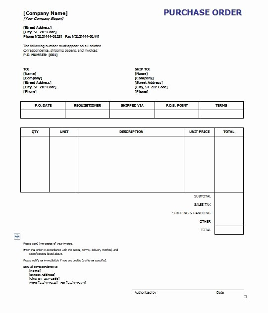 Free Excel Purchase order Template Inspirational Purchase order Template 8 Free Excel Word Template
