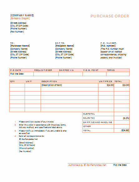 Free Excel Purchase order Template Lovely 40 Free Purchase order Templates forms