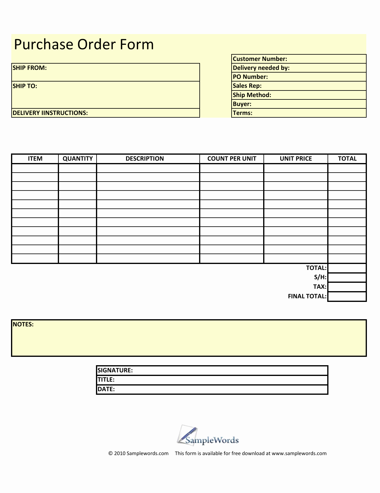 Free Excel Purchase order Templates Awesome Download Blank Purchase order form Template Excel