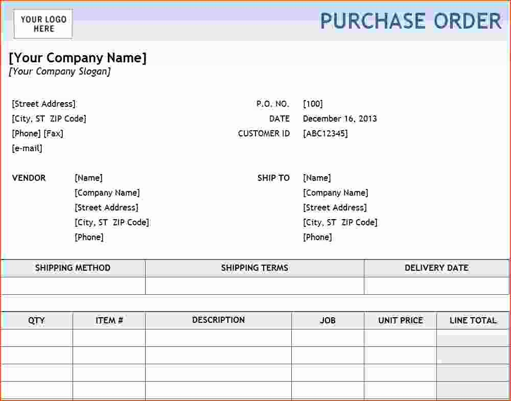Free Excel Purchase order Templates Elegant 6 Purchase order Template Excel Bookletemplate