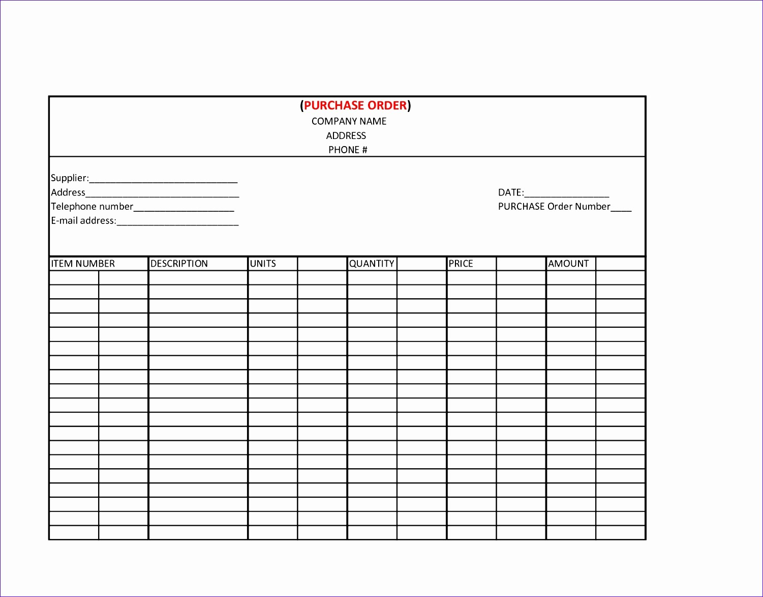Free Excel Purchase order Templates Fresh 14 Purchase order Excel Template Exceltemplates