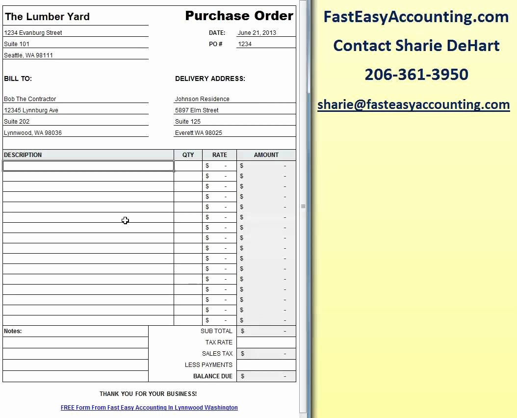 Free Excel Purchase order Templates Lovely Free Contractor Purchase order Template Excel Download