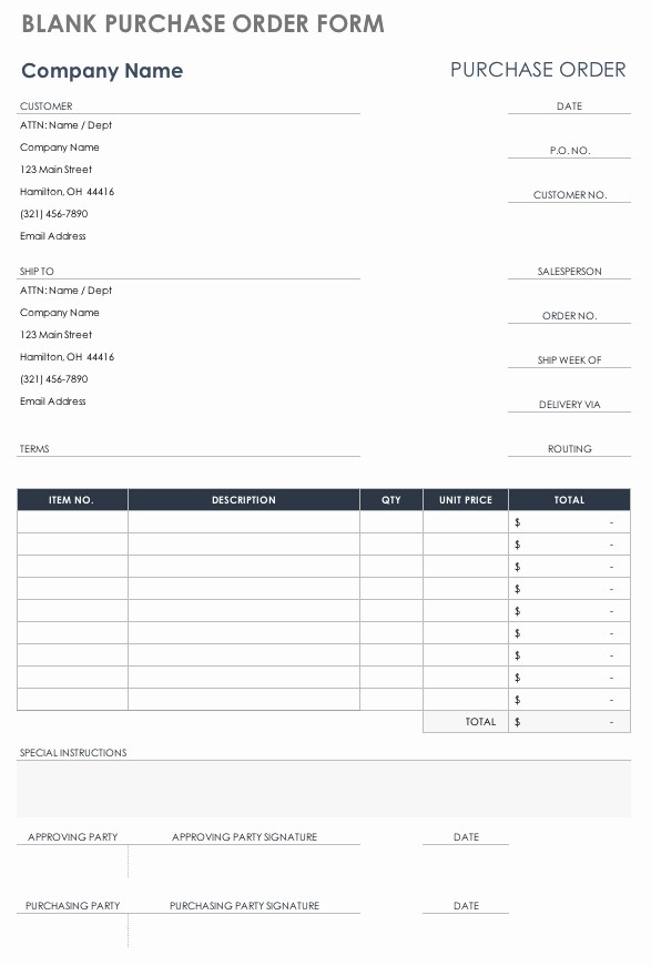 Free Excel Purchase order Templates Lovely Free Purchase order Templates