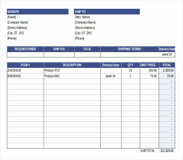 Free Excel Purchase order Templates Luxury Purchase order Template Free Templates