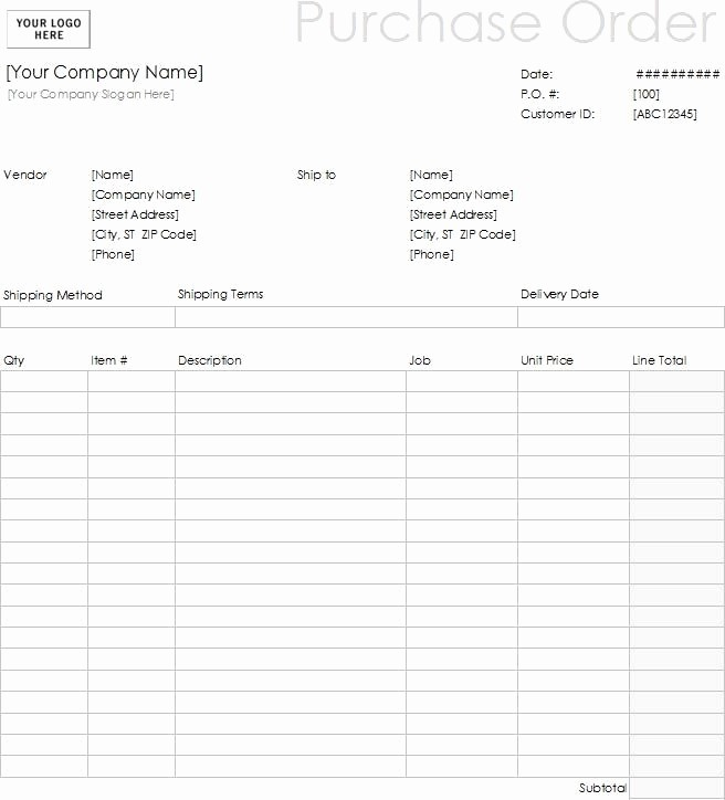 Free Excel Purchase order Templates New 15 Samples Of Purchase order Templates In Word Excel