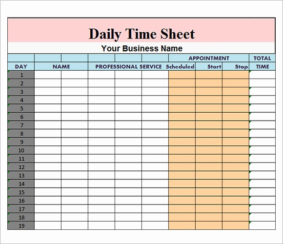 Free Excel Time Sheet Template Beautiful Daily Timesheet Template 10 Free Download for Pdf Excel