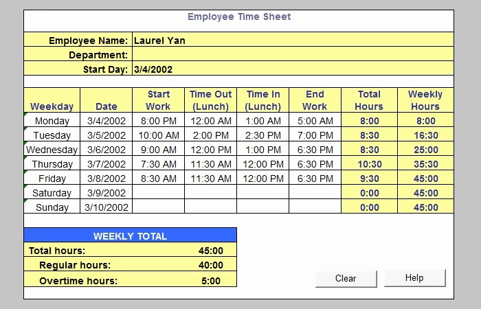 Free Excel Time Sheet Template Best Of 60 Sample Timesheet Templates Pdf Doc Excel