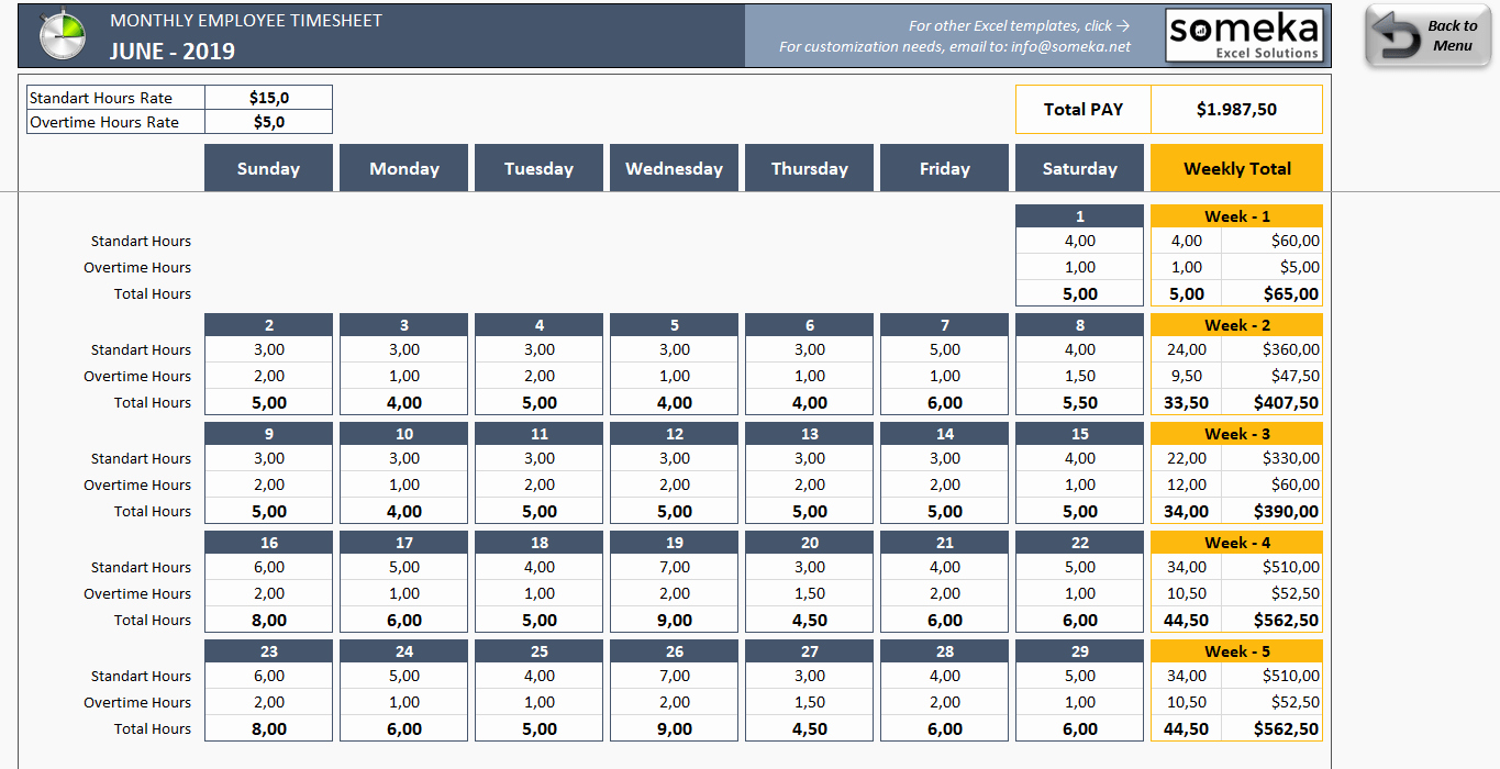Free Excel Time Sheet Template Elegant Monthly Employee Timesheet Free and Printable Excel Template