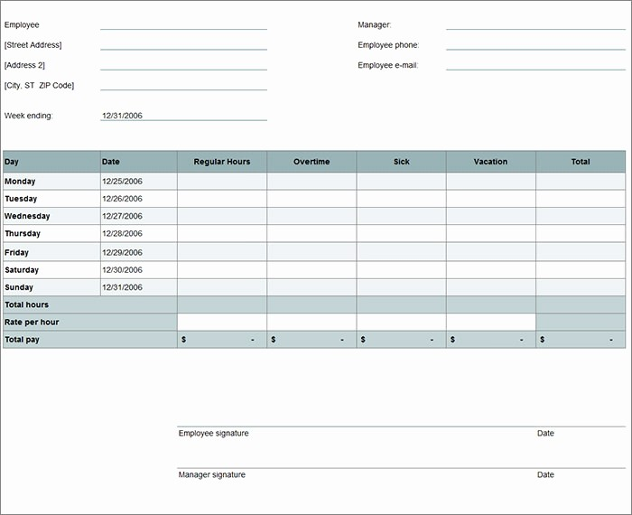Free Excel Time Sheet Template Inspirational 60 Sample Timesheet Templates Pdf Doc Excel