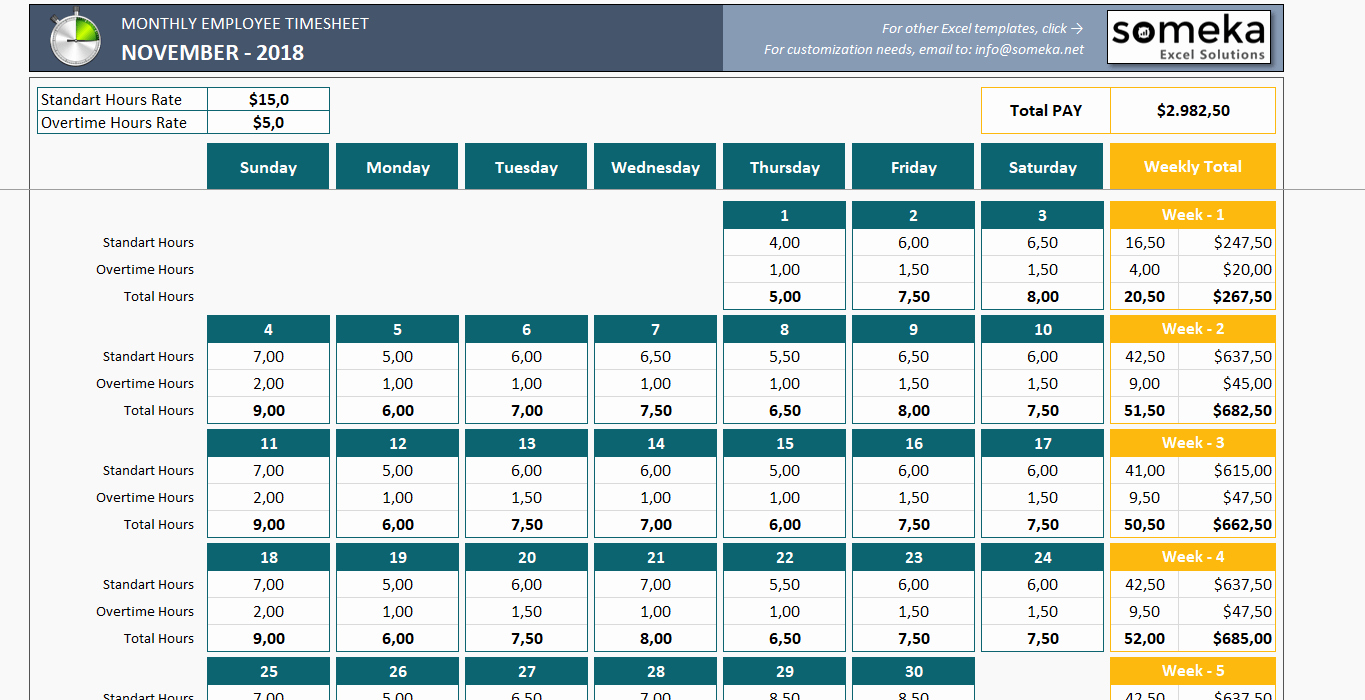 Free Excel Time Sheet Template Lovely Monthly Employee Timesheet Free and Printable Excel Template