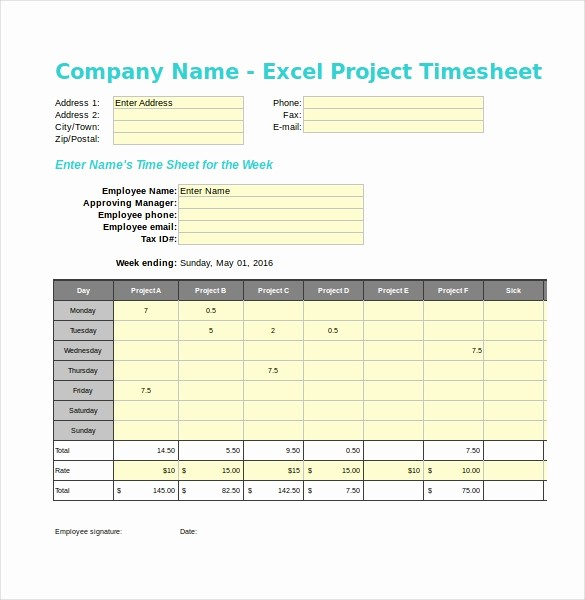 Free Excel Time Sheet Template New 20 Project Timesheet Templates & Samples Doc Pdf