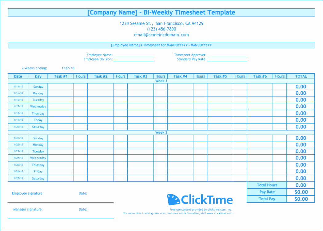 Free Excel Time Sheet Template New Biweekly Timesheet Template Free Excel Templates