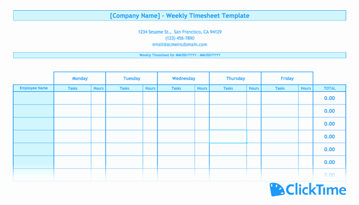 Free Excel Time Sheet Template New Free Timesheet Template Printable Timesheets