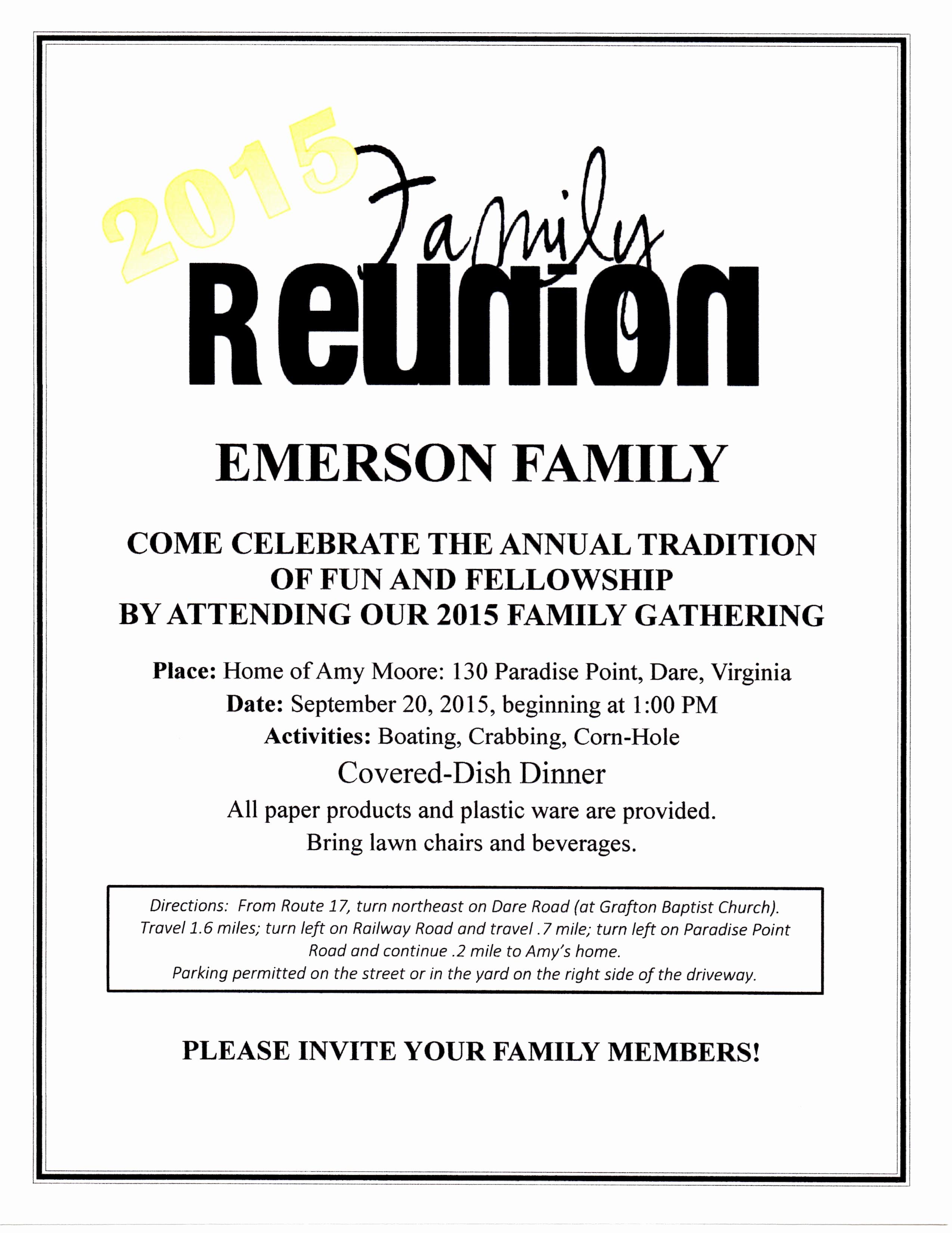 Free Family Reunion Flyer Template Fresh 2015 Family Reunion