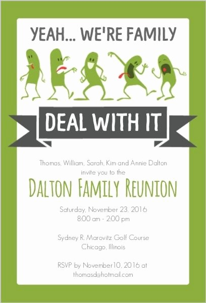Free Family Reunion Flyer Template Lovely Funny Family Reunion Invitation … Family History