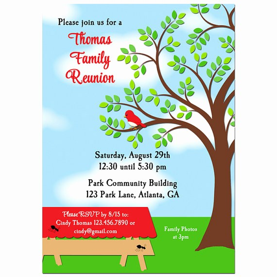 Free Family Reunion Flyer Template New Family Reunion Picnic Bbq Park Invitation Printable or