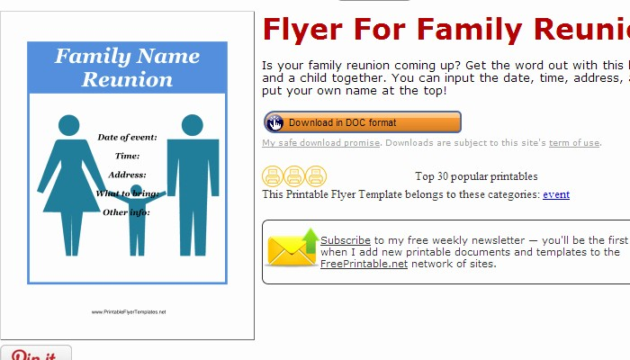 Free Family Reunion Flyer Template Unique 3 Free Family Reunion Flyer Templates