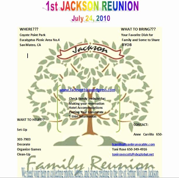 Free Family Reunion Flyer Templates Lovely the Jackson Family S 2010 Reunion Webpage