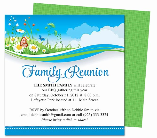 Free Family Reunion Flyers Templates Beautiful Summer Breeze Family Reunion Party Invitation Templates