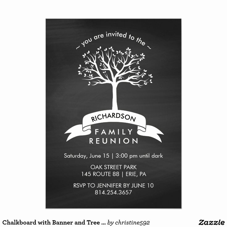 Free Family Reunion Flyers Templates Elegant Chalkboard with Banner and Tree Family Reunion Card