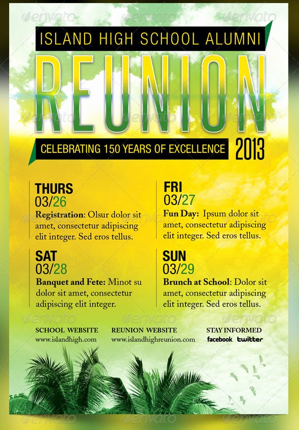 Free Family Reunion Flyers Templates Luxury island School Reunion Flyer Template